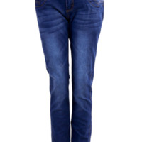 Three Button Front Skinny Blue Jeans