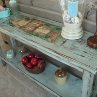 Handmade Wooden Table Shabby Beach Cottage by honeystreasures