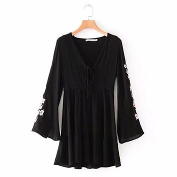 Chu mark V-neck vintage chiffon women spring dress embroidery long sleeve summer mid-long black feminina vestidos femme 901009