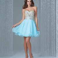 Preorder - Madison James 16-315 Water Blue Strapless Crystal Bodice Short Chiffon Dress 2015 Homecoming Dresses