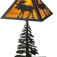 0-019758>Lone Moose 1-Light Table Lamp Black