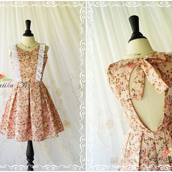 Alice In Wonderland - Alice Floral Dress Cut Off Back Tea Dress Pastel Old Roses Pink Dress Prom Party Dress Wedding Bridesmaid Dress XS-XL