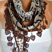 ON SALE - 50% OFF - Brown  Zebra  Scarf -  Cotton  Scarf - Shawl -  Cowl with Lace Edge   - fatwoman