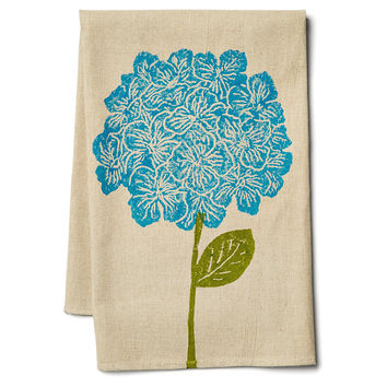 Hydrangea Tea Towel, Blue, Tea towels & Dishtowels