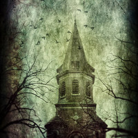 Surreal Photography, Tower in the Night, Birds, Trees, Branches, Dark Fantasy, Goth Art, Church, Fine Art - The Belfry
