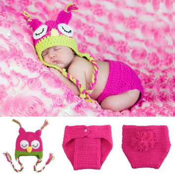 Owl Knit Outfits Photo Prop Newborn Boys Girls Photography Cute Knitting  7_S = 1917084420
