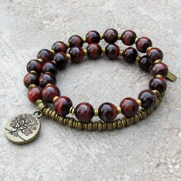 Red Tigerâ´S Eye Gemstone 27 Bead Mala Bracelet with Tree Of Life Charm