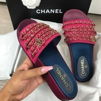 '' Chanel '' Shoes Chain Slippers Silk Satin Sandals