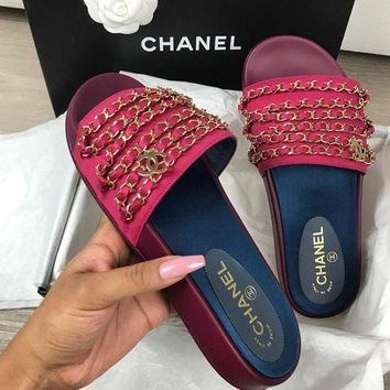 chanel shoes chain slippers silk satin sandals-1
