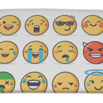 Bath Mat, Poker Set Emoticons Line Style Emoji Isolated On White Cute Icons