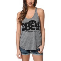 Obey Voices Records Black Mock Twist Tank Top