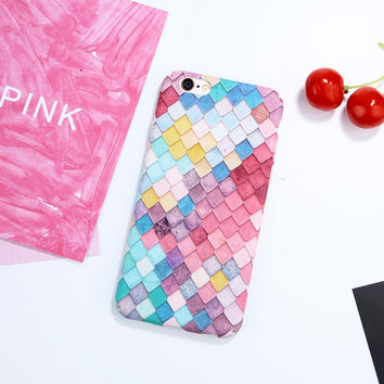 Pink Cute 3D Colorful Fish Scales Phone Cases For Apple iPhone 6 Case 6S Plus Hard Back Cover Coque For iPhone 6 7 6S Plus Shell