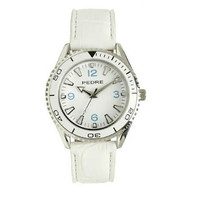 Pedre Unisex Divers Style Watch with White Band and Bezel