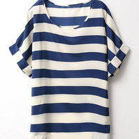 Deep Blue Striped Chiffon Blouse