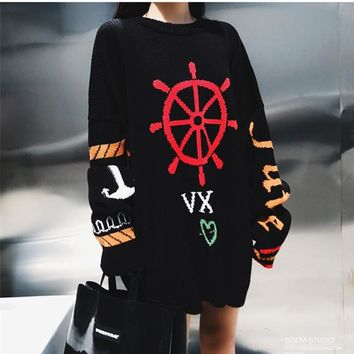 """Chrome Hearts"" Women Fashion Personality Knit Letter Middle Long Section Loose Round Neck Long Sleeve Sweater Dress"