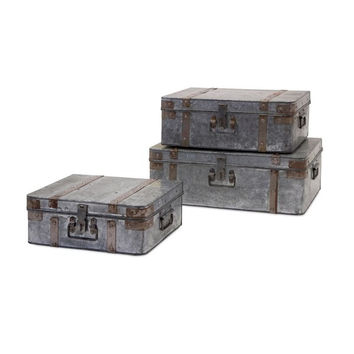 Teri Galvanized Suitcases - Set of 3