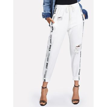 Ribbon Letter Ripped Drawstring Jeans