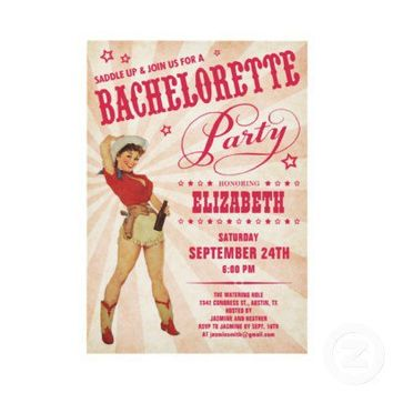 Cowgirl Bachelorette Party Invitations from Zazzle.com