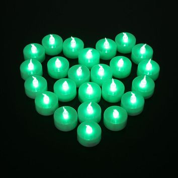 12pcs Electronic Wax Candles Flameless LED Tealight Green Flickering Bougies For Householed Wedding Birthday Party Candele Velas