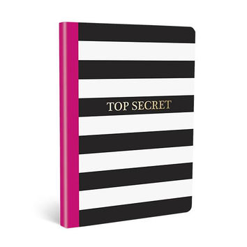 Top Secret Soft Cover Journal in Pink, Black, and White