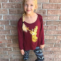 Girls Reindeer sequence Tunic top
