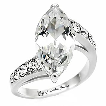 4.6CT Perfect Marquise Cut Russian Lab Diamond Promise Engagement Anniversary Ring