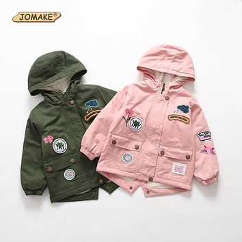 JOMAKE Children Outerwear 2017 New Winter Brand Kids Clothes Fashion Embroidery Appliques Baby Fleece Windbreaker Jackets Coats