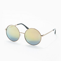 Round Revo Sunglasses in Gold - Urban Outfitters