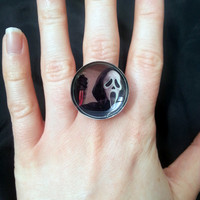 Scream , Ghost face inspired adjustable ring