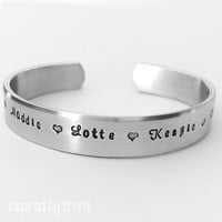 Personalized bracelet, hand stamped bracelet- Aluminum, 3/8 Inch wide