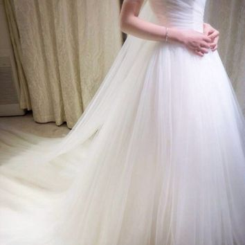ZGS290 The Newest Wedding Imported Soft Tulle Beautiful A Line Wedding Gowns Sweetheart Elegant Prin
