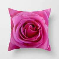 Pink Rose Throw Pillow by Ally Coxon | Society6