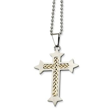 Stainless Steel Celtic Fleury Cross Pendant Necklaces - 55x34mm Bead