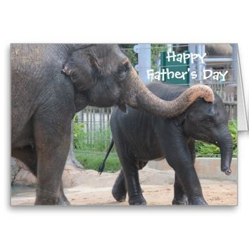 Cute Father's Day Card, Elephant dad and baby