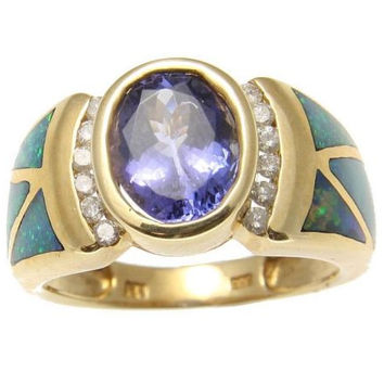 GENUINE 2.20CT OVAL TANZANITE AUSTRALIAN OPAL DIAMOND RING SOLID 14K YELLOW GOLD