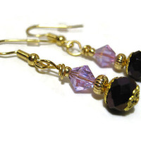 Purple Drop Dangle Earrings Gold Plated Made with Faceted Glass and Swarovski Bicones Womens Retro Style Sparkle Glitz Bling Formal Jewelry