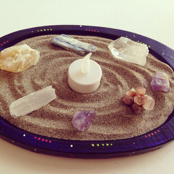 Crystal Garden- Zen Sand New Age Neon Glitter Galaxy Hand Painted Crystal Garden with Crystals and Tea Light