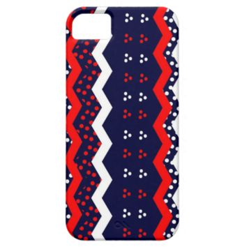 Navy Blue Red White Polka Dot Spotty Pattern iPhone 5 Case