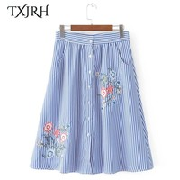 TXJRH Vintage Flower Floral Embroidery Blue White Striped High Waist Button A-Line Skirt Stylish Women Knee-Length Swing Skirt