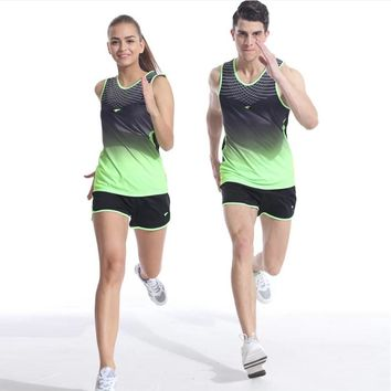Men Women Yoga Sets Professional marathon Running Sports vest + Shorts Fitness Gym track and field Tank Tops Elastic Short Pants