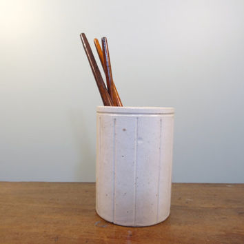 Antique W. P. Hartley Stoneware Crock, Rustic Utensil Holder, Salt Cellar, Desk Storage