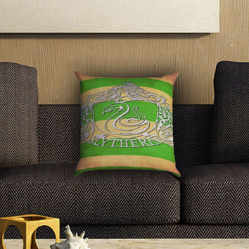 Harry Potter Slytherin Crest Pillow Cover , Custom Zippered Pillow Case One Side Two SIde
