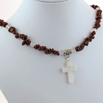Garnet White Quartz Crystal Cross Natural Stone Necklace