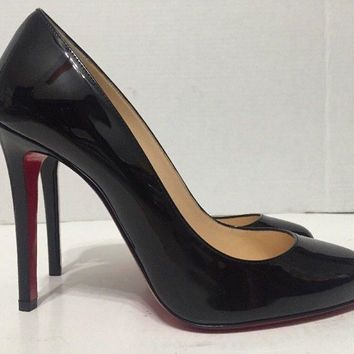 Christian Louboutin Fifille Womens Black Patent Leather High Heels Pumps Size 38