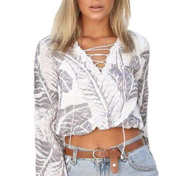 DCCK6HW Fashion Leaves Print Hollow Lace Stitching Bandage V-Neck Long Sleeve Shirt  Women Crop Tops