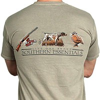 """Southern Essentials """"Quail Hunt"""" Short Sleeve Pocket Tee in Stone by Live Oak"""