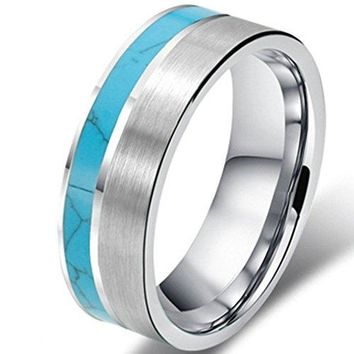8mm Tungsten Turquoise Vintage Wedding Engagement Ring Band  Matte Finish (Platinum)