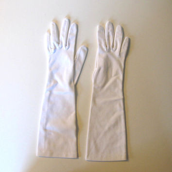Vintage Mid-Length White Dress Gloves, Wedding, Circa 50's, Women's Accessory, Retro collectible
