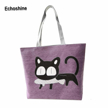 New Trend American Apparel Canvas Shoulder Bag Cat Bag Hot Sale Woman Messenger Handbag Big Shopping Bag Free Shipping