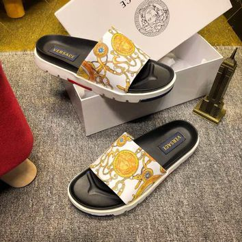 Versace White/Yellow Women Men Casual Fashion Flat Sandal Slipper Shoes